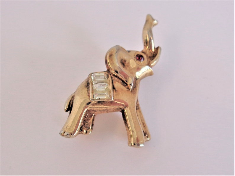 Crown Trifari Small Elephant Brooch Pin with Rhinestones & Red image 0