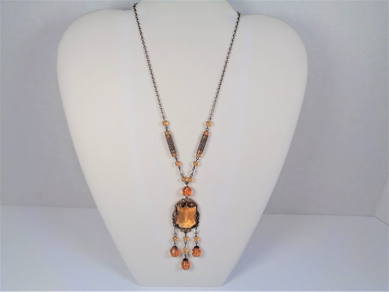Art Deco Czech Amber Glass Pendant Dangle Necklace image 0