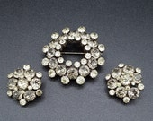 Vintage Signed Kramer of New York Gray and Citrine Yellow Brooch Pin & Earrings