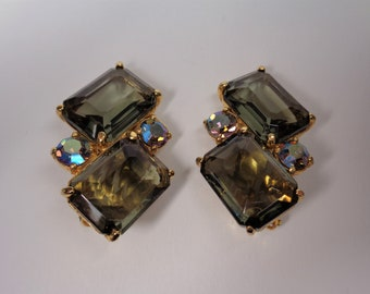 Vintage Signed Smokey Quartz Color Schiaparelli Clip Earrings