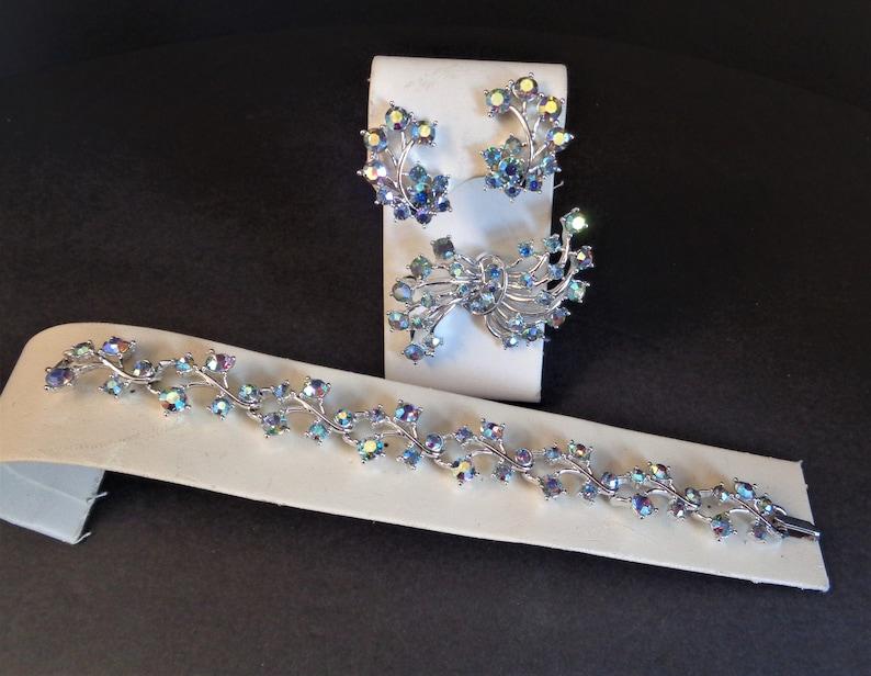 Vintage Kramer of NY Blue AB Rhinestone Bracelet Earrings and image 0