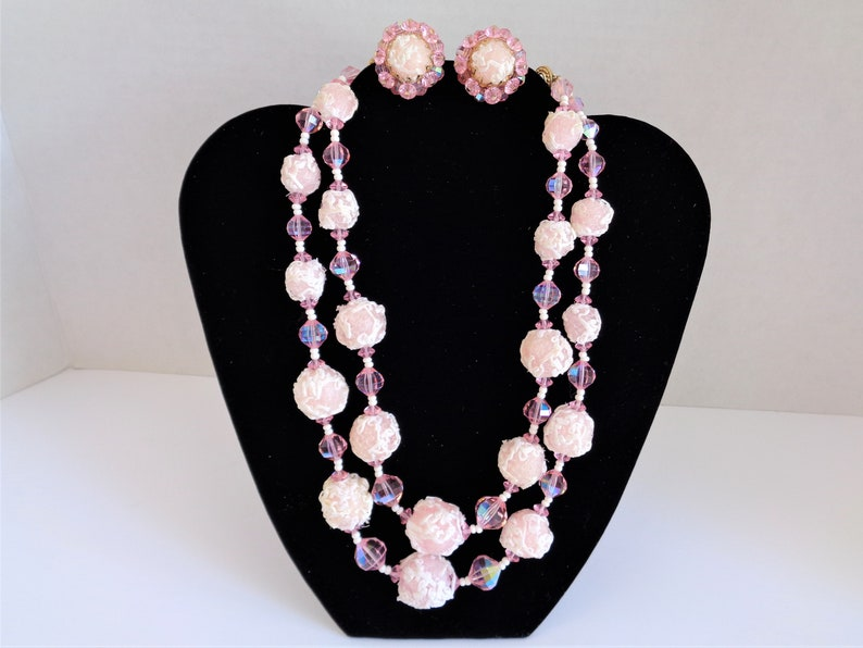 Vintage Vendome Pink Acrylic & Glass Bead Necklace and image 0