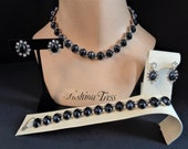 Vintage Signed BOGOFF Hematite RS Necklace Bracelet and Two Pairs of Earrings