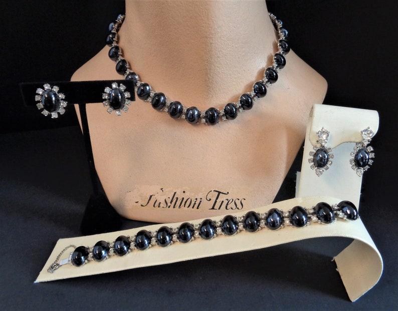 Vintage Signed BOGOFF Hematite RS Necklace Bracelet and Two image 0