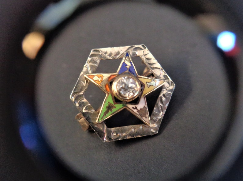 Vintage 10K Easter Star Pin White & Yellow Gold with Genuine image 0