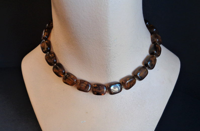 Vintage Signed TRIFARI Brown Amber Lucite Bead Choker Necklace image 0