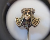 Rare 10K Gold Art Nouveau Egyptian Style Lady Stick Pin Brooch Diamond Garnet