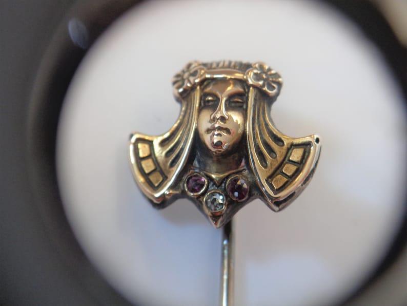 Rare 10K Gold Art Nouveau Egyptian Style Lady Stick Pin Brooch image 0