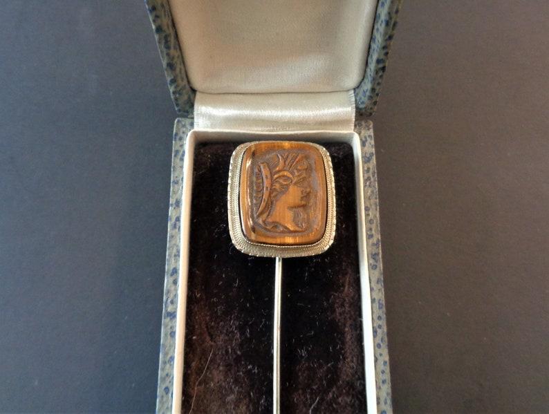 Antique Art Deco 14K White Gold Tiger's Eye Intaglio Cameo image 0