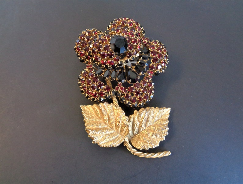 Vintage Signed Hattie Carnegie Huge Red Rhinestone Flower image 0