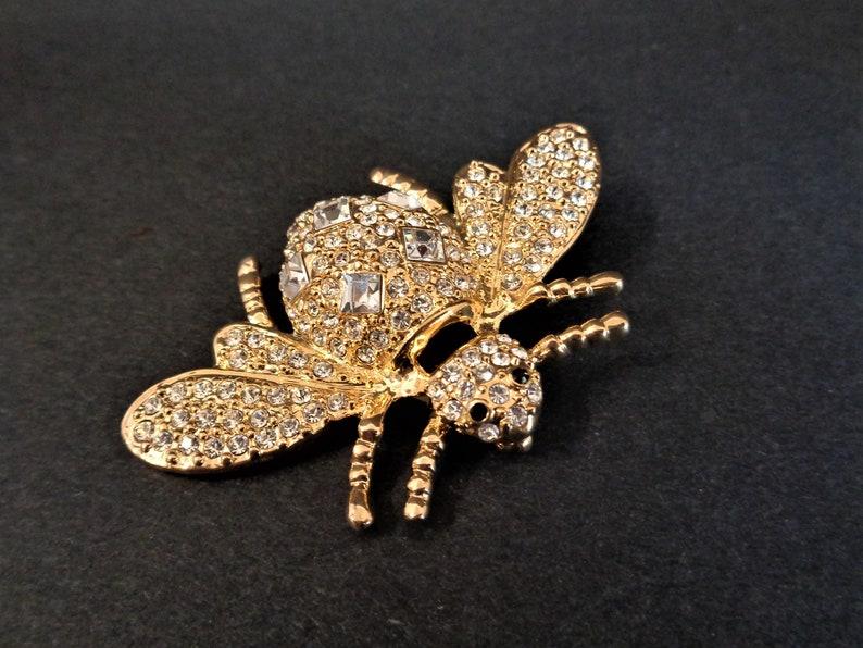 Eisenberg Ice Bee Bug Brooch Pin Gold Tone and Rhinestones image 0
