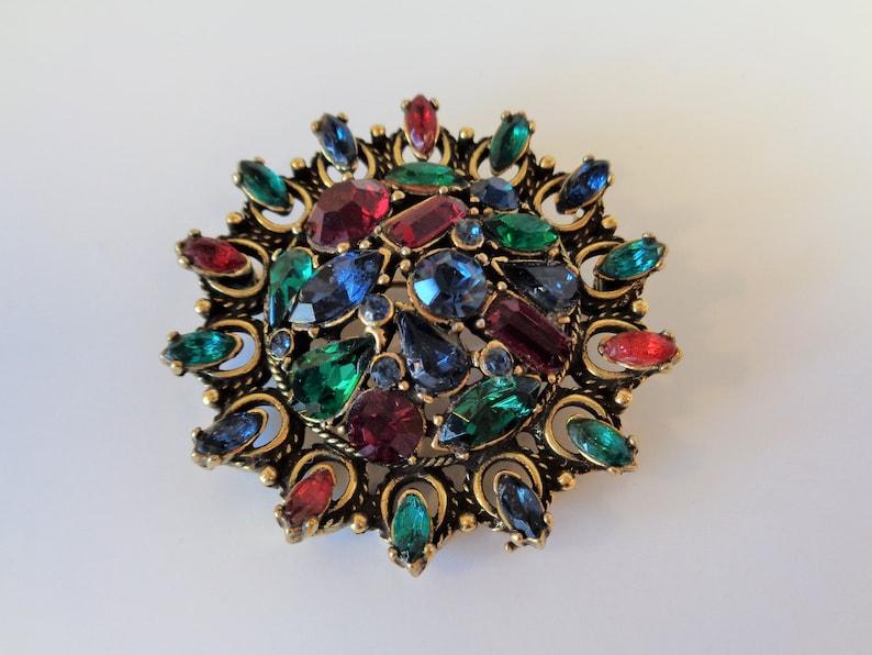 Vintage Signed Hollycraft Multi Color Brooch Pin image 0