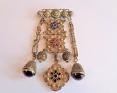 Vintage Sandor Dangle Enamel Medallion Brooch Pin Purple Stones