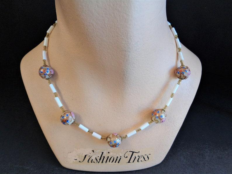 Vintage Art Deco Venetian Wedding Cake Bead Glass Necklace image 0