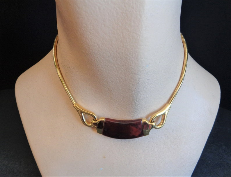 Vintage Signed Crown Trifari Brown Lucite & Gold Tone Choker image 0