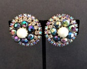 Vintage Signed Hobe AB Faux Pearl, Rhinestone & Bead Clip Earrings