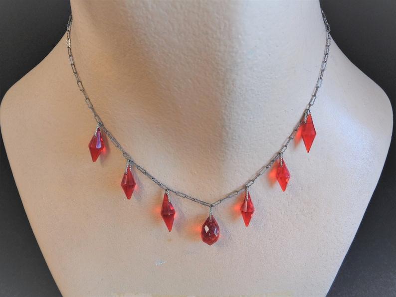 Lovely Vintage Antique Art Deco Red Glass Drop Necklace image 0