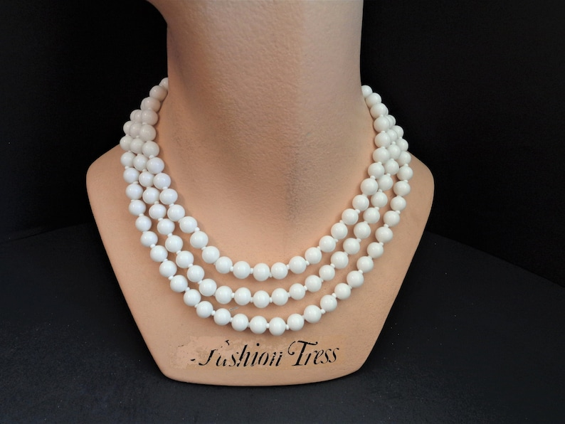 Vintage Miriam Haskell White Milk Glass Glass Beads 58 Inch image 0