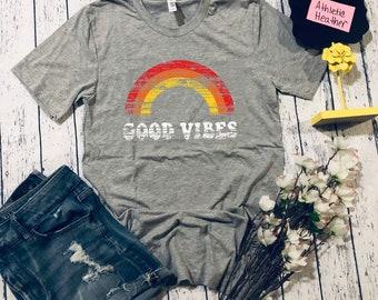 3c5913f0 Good Vibes Shirt | Vintage T-Shirt | Distressed T-Shirt | Good Vibes Only |  Hippie T-Shirt | Good Vibes Rainbow