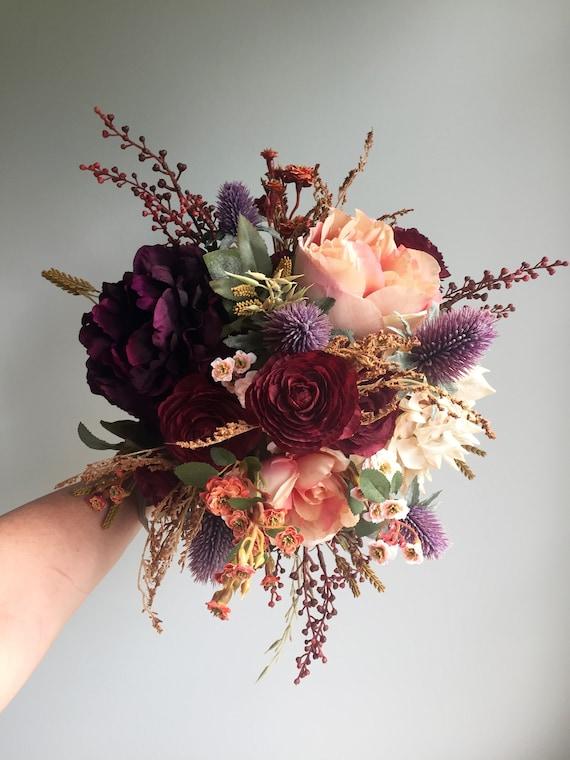 Fall Wedding Bouquet Silk Wedding Bouquet Rustic Bridal Etsy