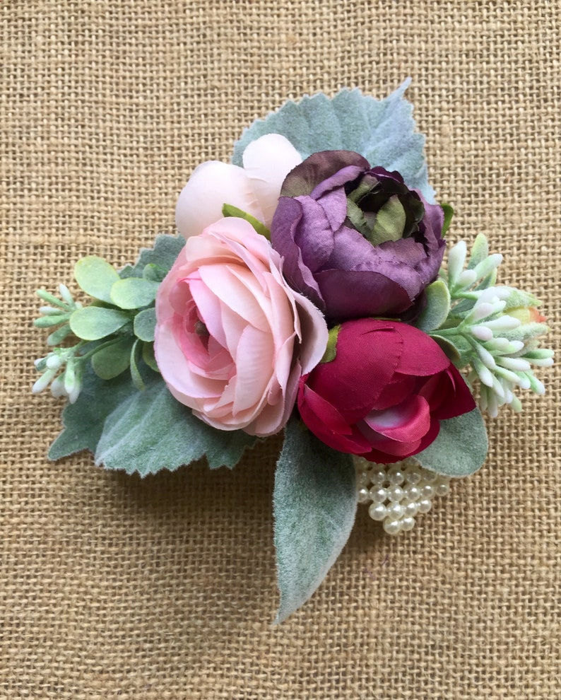 Mother/'s Day Corsage Pink Wedding Corsage Prom Corsage Silk Wrist Corsage Silk Flower Corsage Purple Artificial Flower Corsage