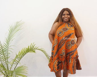 African Print Dress, Ankara A-line dress with Pockets, Orange Gown, Women Clothing, African Clothing, African Fashion, Edia Styles, Pleated