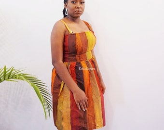 ANKARA GIRLS Clothing, Women Clothing, African Print Dress, Smokey Ankara Dress, Orange Dress, Brown, Red, Christmas Dress, Sale, Sleeveless