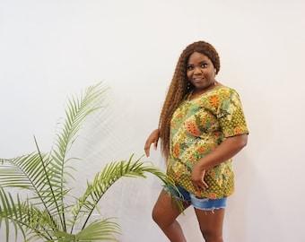 ANKARA SHORTSLEEVE TOP, African Print Top, Women free top, V neck, Short sleeve blouse, dashiki clothing, ankara casual top, summer clothing