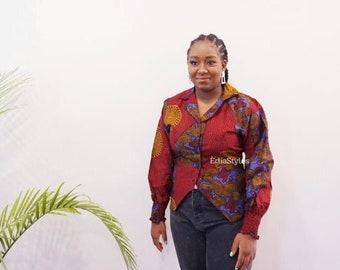 ANKARA TOP with collar, African Print Shirt, African fabric long sleeve top, Ankara Clothing, Women Clothing, Ankara Work Clothing, Fall