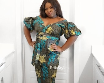 ADE DRESS -  Ankara Dress, Off Shoulder Dress, African Print Dress, Edia Styles, Women Clothing, African Clothing, Ankara Clothing, African