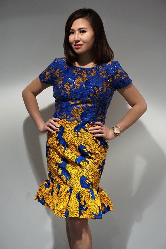 Mia Dress African Dress Lace Dress Ankara Dress Yellow Dress Ankara Lace African Fashion African Styles Ankara Styles Women Dress