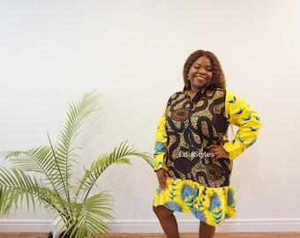 African Print Dress, Ankara Long Sleeve with Collars, African Fashion, Edia Styles, Ankara Styles, Women Clothing, Brown and Yellow Dress