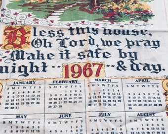 Calendar Bless this home Cloth 1967