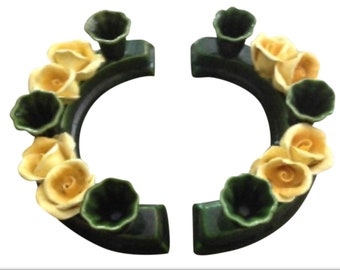 Pair Majolica Yellow Rose Semi Circle Candle Holders Vintage Elegance