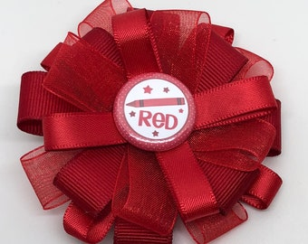 Red Crayon Stars - Hair Bow Clip- Loxie's Bowtique