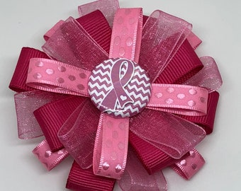 Pink Awareness Ribbon - Breast Cancer Awareness - Hair Bow Clip - Loxie's Bowtique
