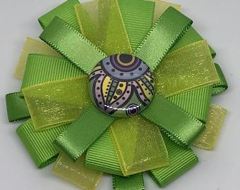 Lime Green Flower Center - Hair Bow Clip- Loxie's Bowtique