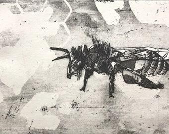 Flying Bee, Original Intaglio Print