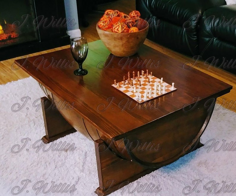 Wine Barrel Coffee Table.Wine Barrel Coffee Table With Wood Top