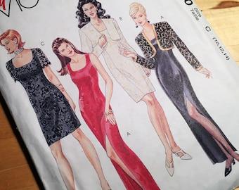 1990s McCalls Vintage Sewing Pattern | Dress, Bolero Jacket | Size 10-12-14 | Easy McCall's 7440