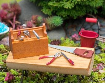 1:12 Scale Mini 9pc Hand Tool Set Dollhouse Supply Fairy Garden Decor Accessory