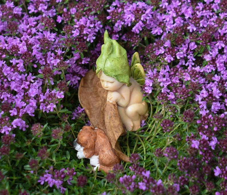 Miniature FAIRY GARDEN ~ Mini Cute Sleeping Puppy Dog Figurine ~ NEW