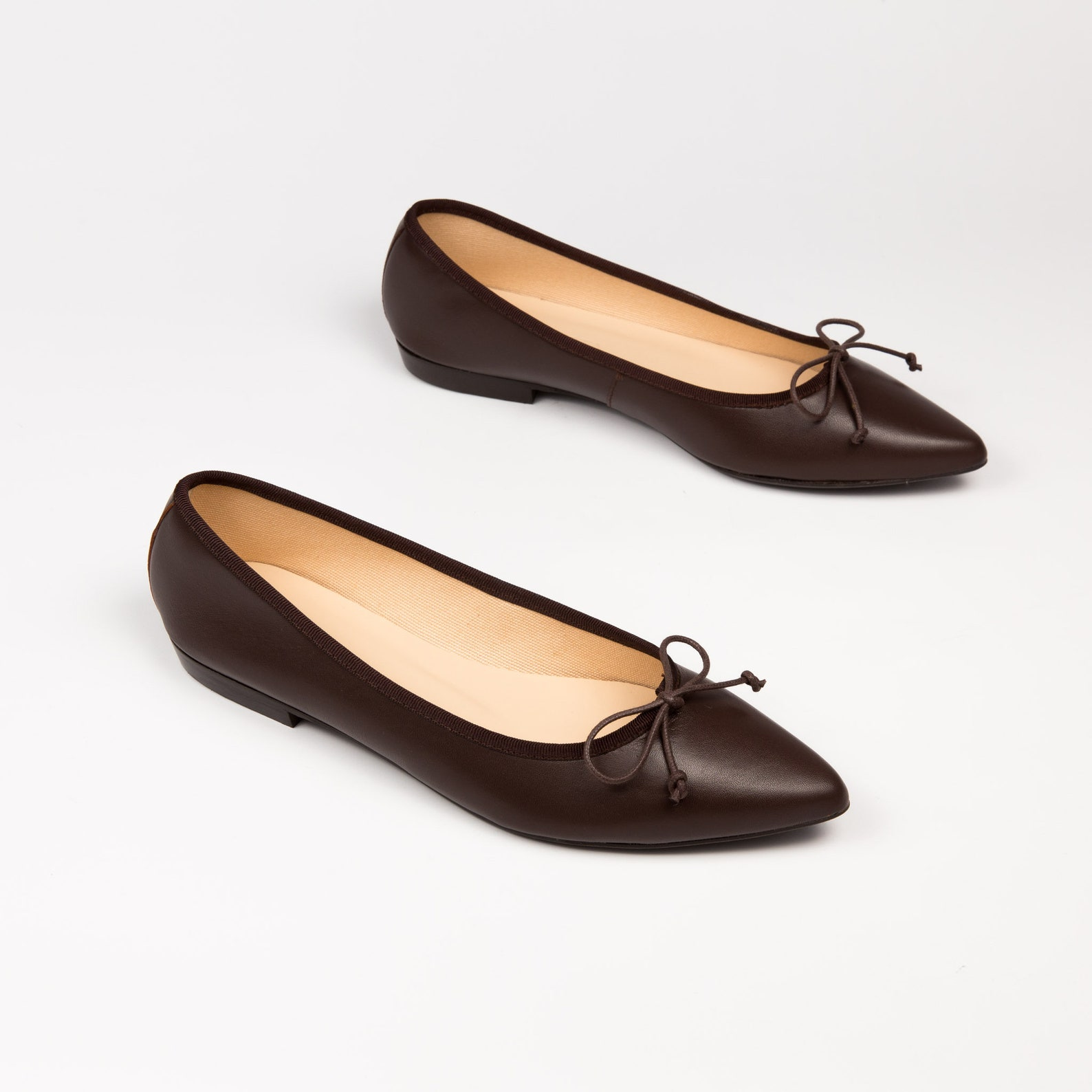 brown ballet flats | brown leather ballerina shoes | elegant flat shoes for women | pointed toe flats | global free shipping
