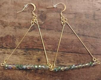 Blue-Green Iridescent shine bead Triangle Bar Earrings