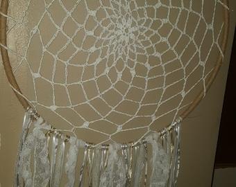 Burlap and Lace Boho Crochet Dreamcatcher