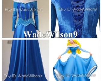 Sleeping Beauty Aurora Princess Dress Aurora Cosplay Costume Handcraft Size