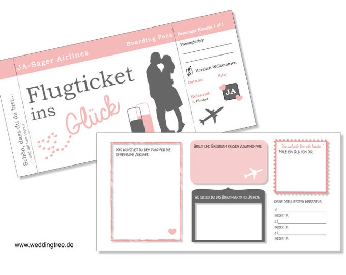 Wedding Guestbook Tickets Flight ticket