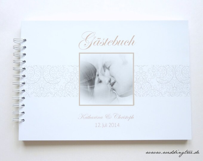 Wedding Guestbook, guestbook with questions, wedding guestbook, personalized guestbook for wedding, guest employment, with photo