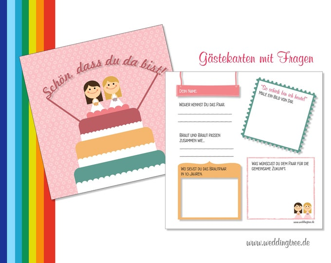 Wedding Guestbook Cards-Two women