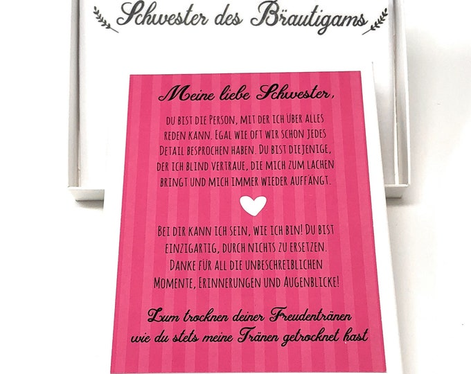 Gift Sister of the groom, handkerchief for tears of joy, cloth taschchief, gift to wedding, sister's heart, sibling, fabric